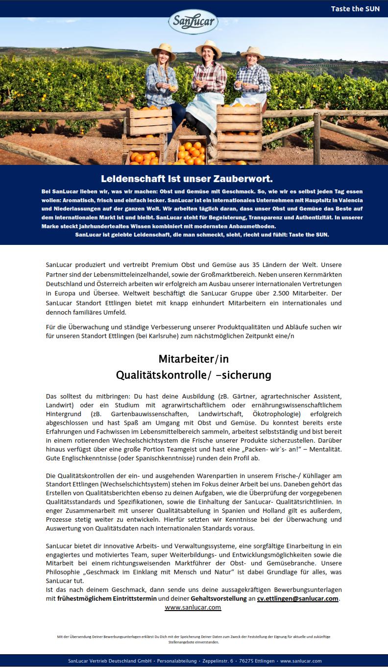 Mitarbeiterin / Mitarbeiter - Qualitätskontrolle ...